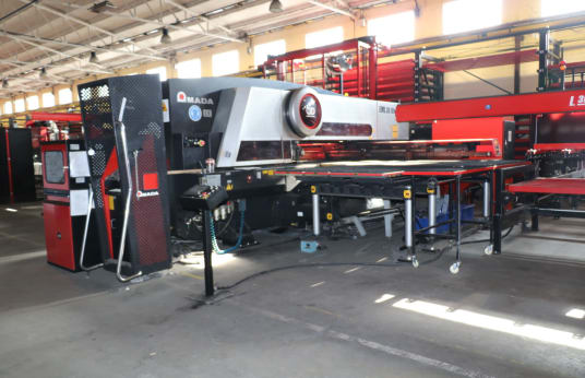 AMADA Sheet metal processing line. storage, cutting, punching and bending