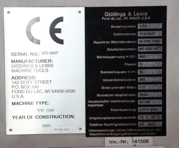 GIDDINGS & LEWIS VTC 2500 CNC-Vertikal Dreh und Fräszentrum i_02755861